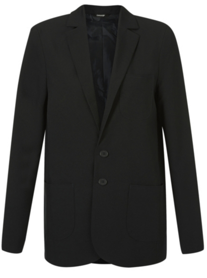 A black blazer is the perfect way to add some sophistication to your everyday work attire. Women can enjoy a long sleeve, button blazer from Jones New York. Women can enjoy a long sleeve, button blazer from Jones New York.