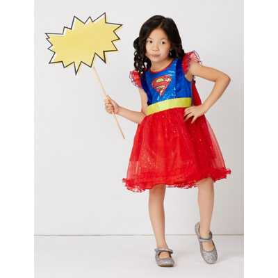 George Supergirl Fancy Dress Costume - Blue, Blue.