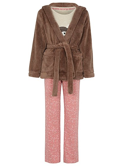 Bear and Bunny Dressing Gown and Pyjama Set   Women   George at ASDA
