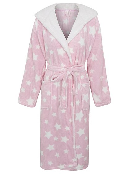 Star Print Hooded Dressing Gown | Women | George at ASDA