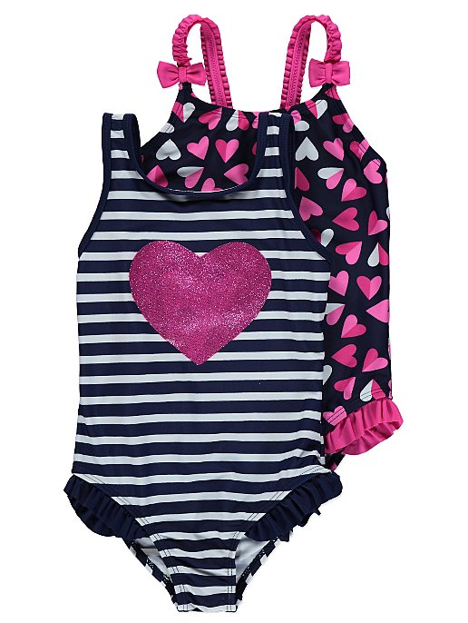 ce4ceacebf 2 Pack Heart Print Swimsuits | Kids | George