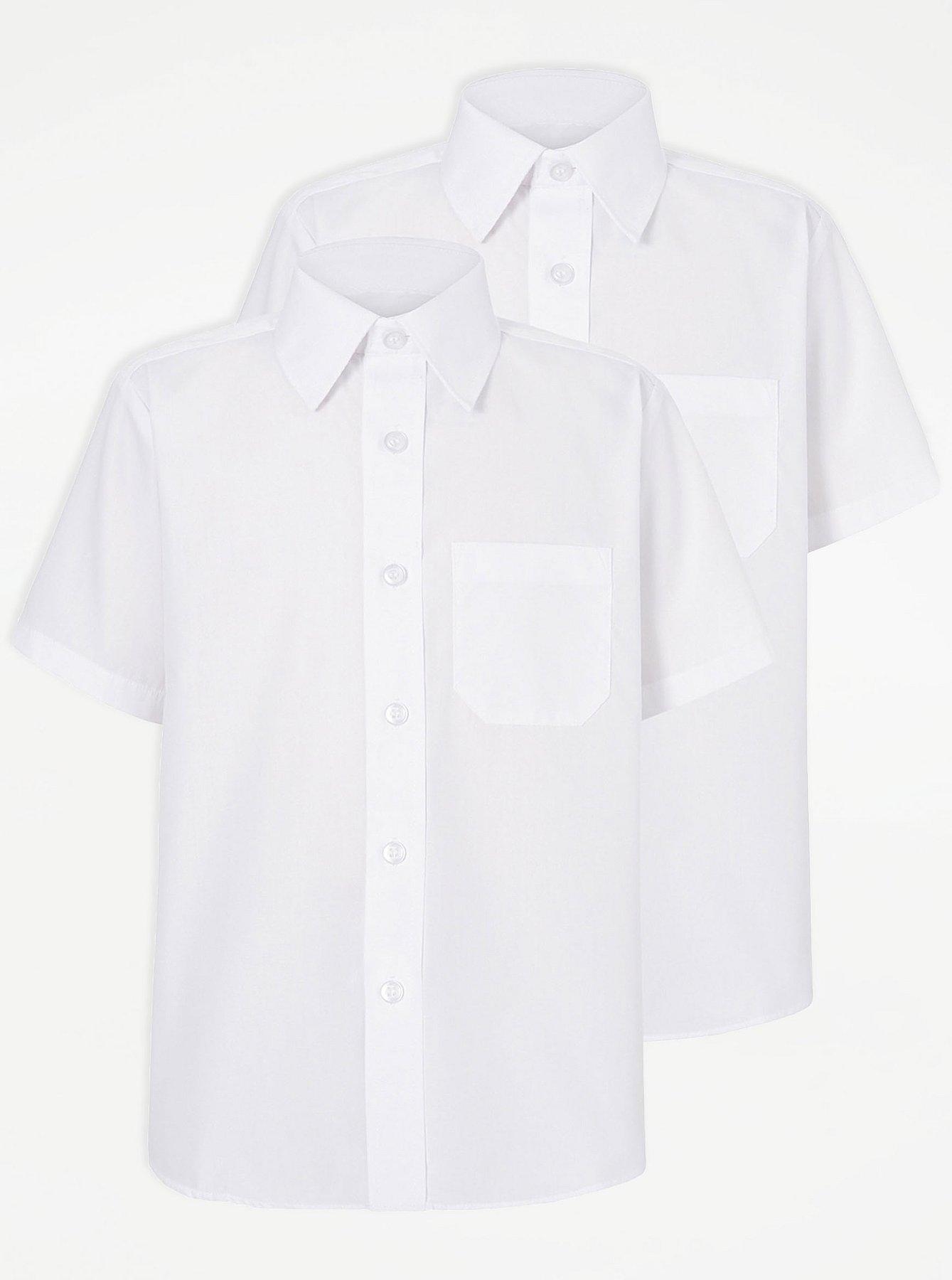 Boys School 2 Pack Short Sleeve Shirts - White | School | George at ASDA