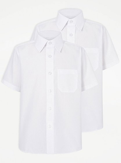 Boys School 2 Pack Short Sleeve Shirts White School