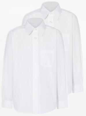 Boys White Slim Fit Long Sleeve School Shirt 2 Pack