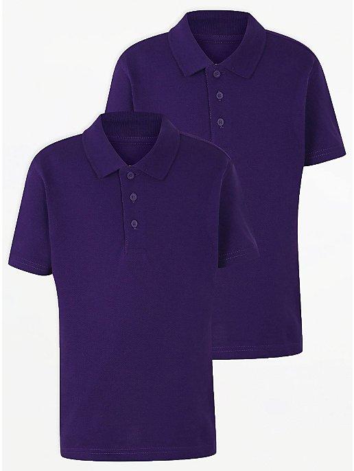 Purple School Polo Shirt 2 Pack School George