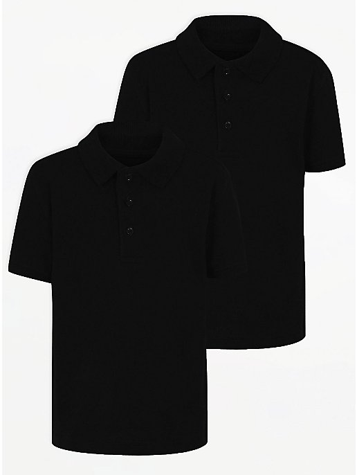 03d360cb7 Boys School 2 Pack Polo Shirts – Black | School | George at ASDA