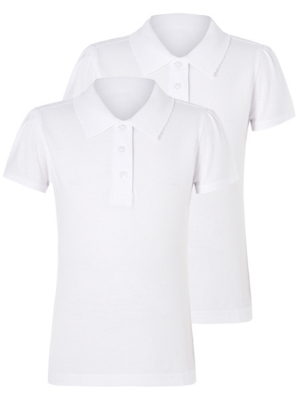 Girls White Scallop School Polo Shirt 2 Pack