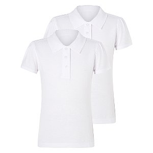 Girls White Scallop School Polo Shirt 2 Pack