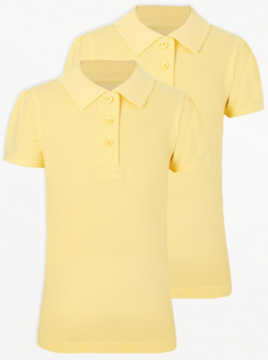 Girls Yellow Scallop School Polo Shirt 2 Pack