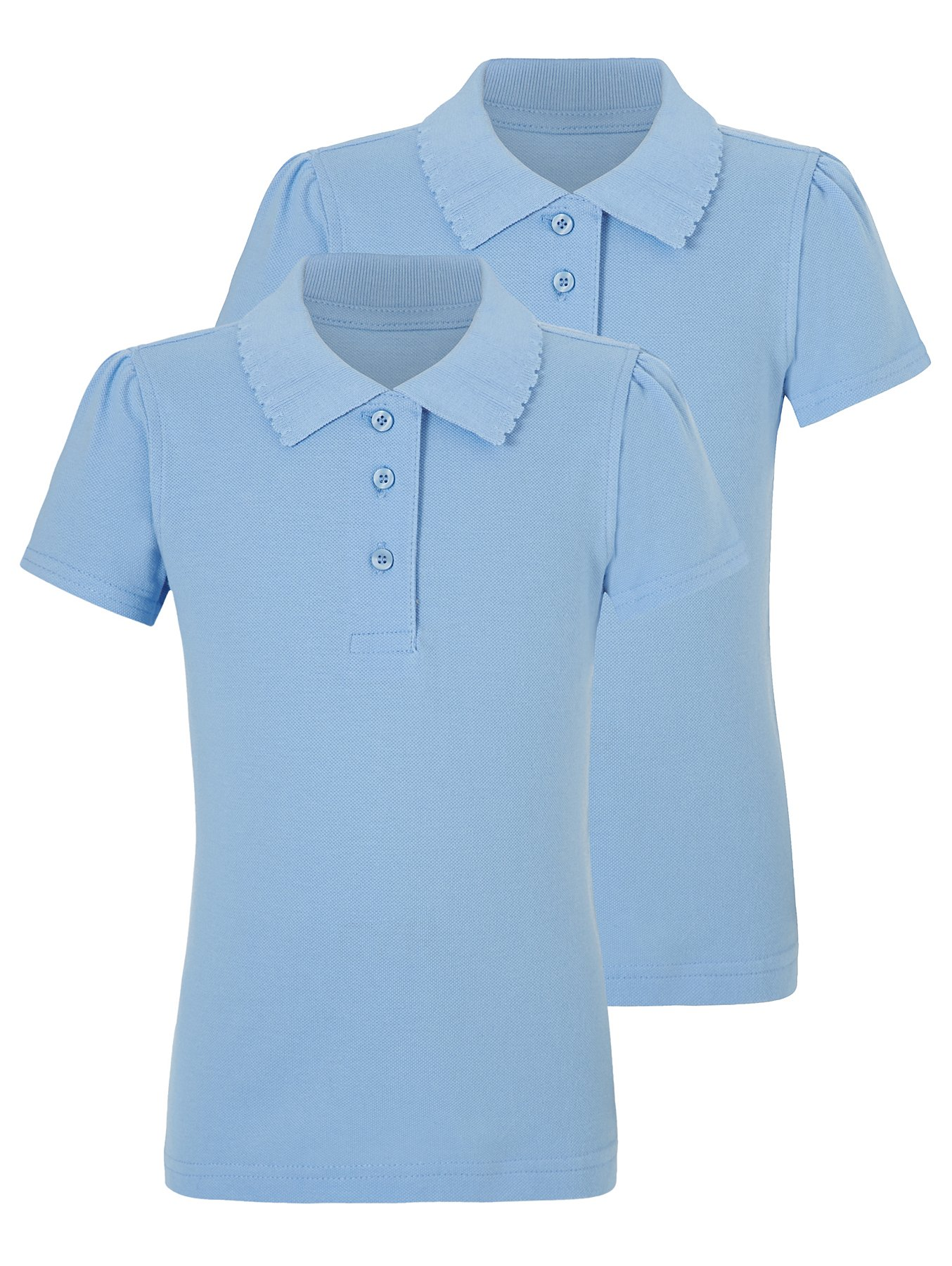 Girls School 2 Pack Scallop Polo Shirts Blue School George At Asda