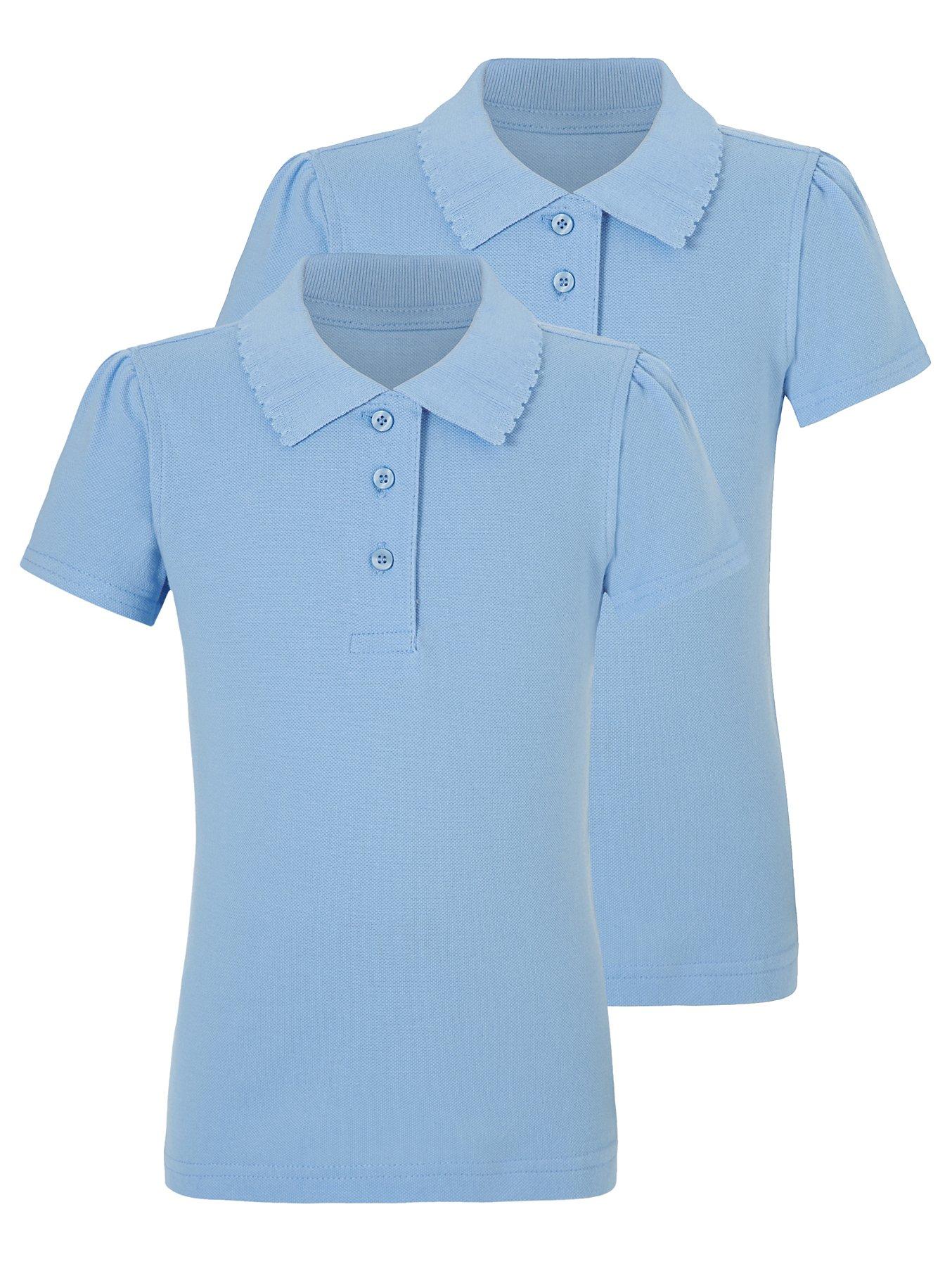Girls Light Blue Scallop School Polo Shirt 2 Pack. Reset eb63c353b