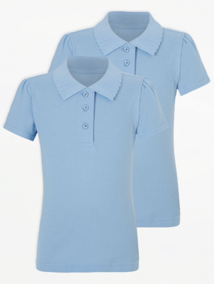 Girls Light Blue Scallop School Polo Shirt 2 Pack