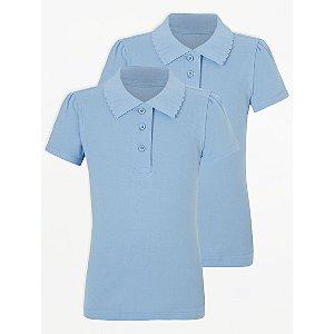 Girls Light Blue Scallop School Polo Shirt 2 Pack