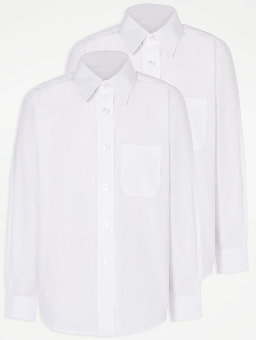 c3975a8d8 Girls White Long Sleeve School Shirt 2 Pack | School | George