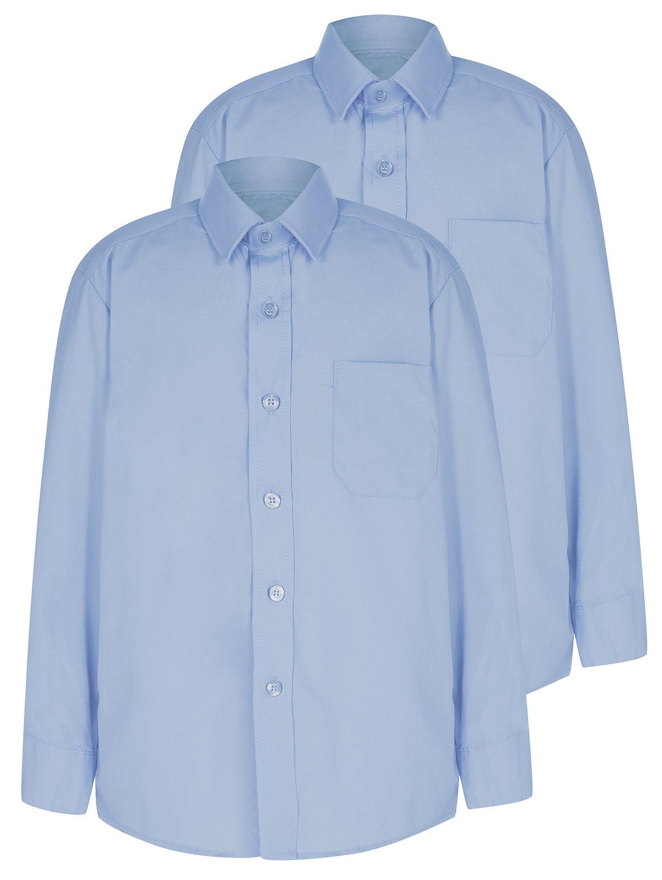 Girls School 2 Pack Easy Iron Long Sleeve Shirt Light Blue