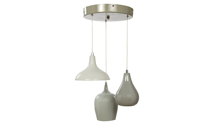 George home 3 light grey pendant ceiling fitting home garden 3 light grey pendant ceiling fitting mozeypictures Image collections