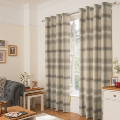 Natural Cosy Brushed Check Curtains.  Hide Details