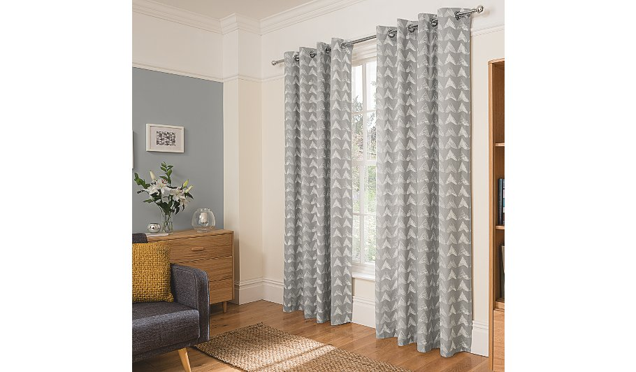 Grey Smudgy Geo Print Curtains Hide Details