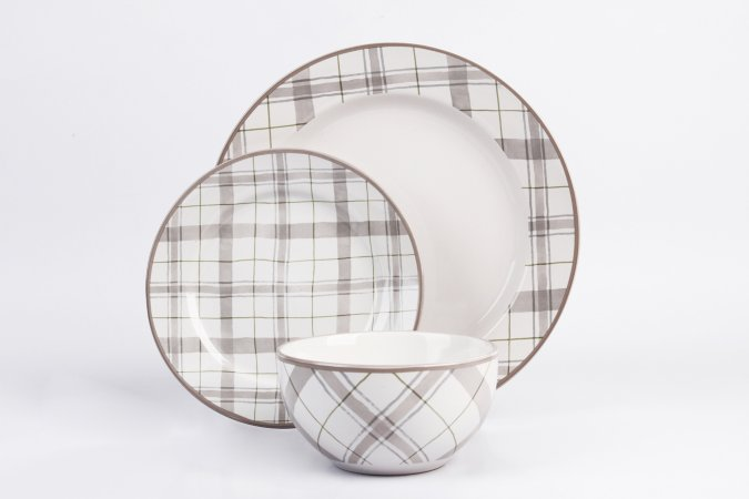 George Home Natural Check Tableware Range