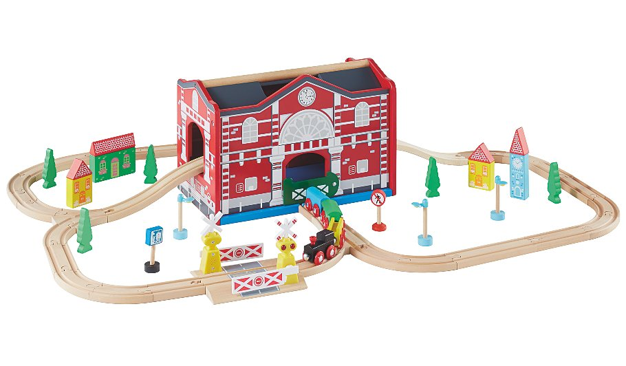 George home wooden lights and sound train set kids for Kitchen set for 4 year olds