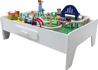 Wooden Train Set And Table  sc 1 st  Asda & George Home Wooden Train Set And Table | Kids | George at ASDA