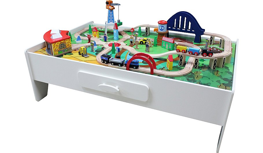 George Home Wooden Train Set And Table Kids George At ASDA - Train set table