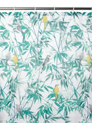 leaves u0026 birds fabric shower curtain