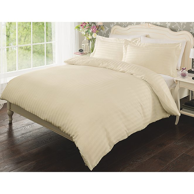Duvet Covers.Cream 100 Cotton Stripe Duvet Cover