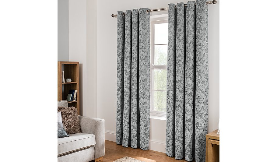Grey textured chenille eyelet curtains home garden for Gray curtains texture