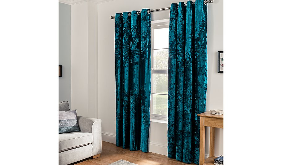 Embossed crushed velvet eyelet curtains teal home for Pictures of curtains