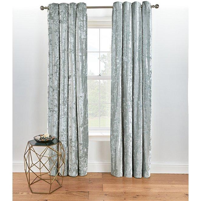 Grey Embossed Crushed Velvet Eyelet Curtains Home George