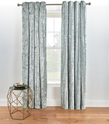 Grey Embossed Crushed Velvet Eyelet Curtains