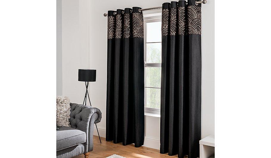 Black Sequin Faux Silk Eyelet Curtains