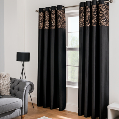 Black Curtains Part - 15: Black Sequin Faux Silk Eyelet Curtains