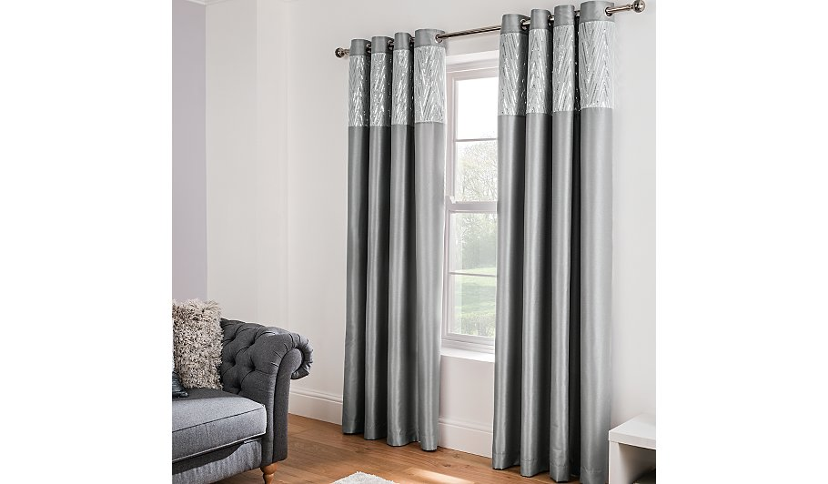 Silver Sequin Faux Silk Eyelet Curtains