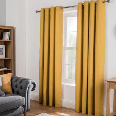 Mustard Yellow Plain Eyelet Curtains  Mustard Yellow Curtains