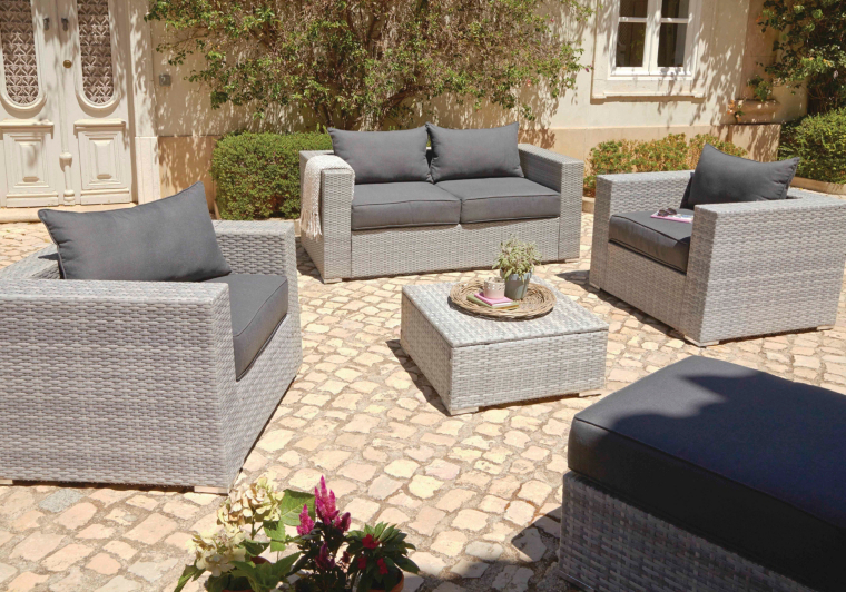 Borneo Garden Furniture Asda borneo 5 piece sofa set - grey and charcoal | home & garden | george