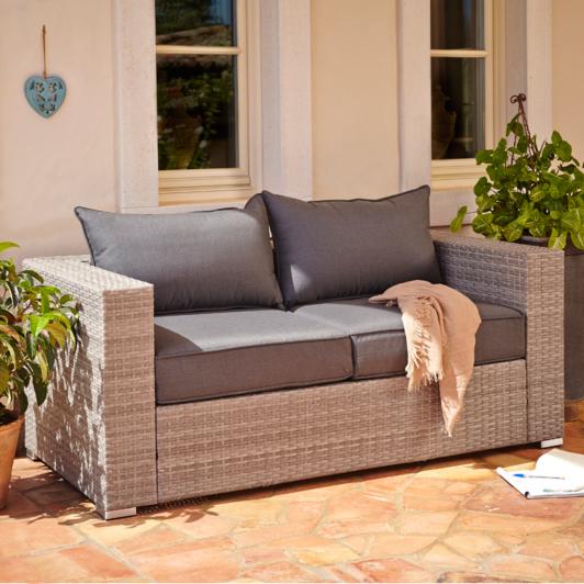Borneo Garden Furniture Asda borneo 2 seater sofa - grey and charcoal | home & garden | george
