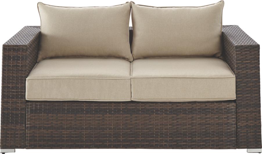 Borneo Garden Furniture Asda borneo 2 seater sofa - dark brown and cream | home & garden