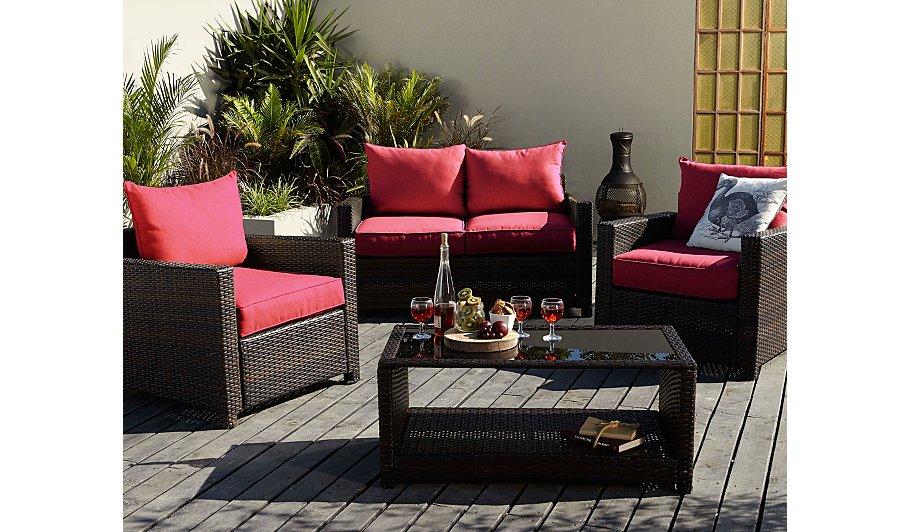 Jakarta 4 piece deluxe sofa set red home garden george for Sofa jakarta