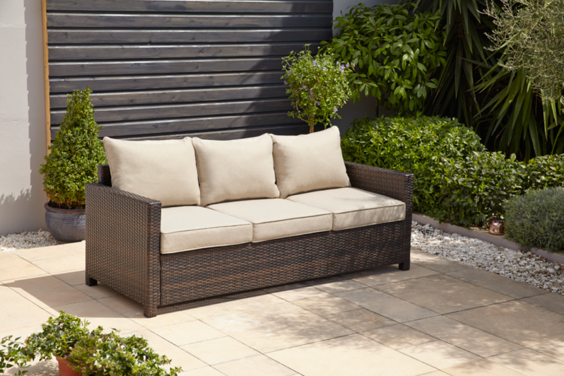 Garden Furniture Jakarta jakarta 3 seater sofa - linen | home & garden | george at asda