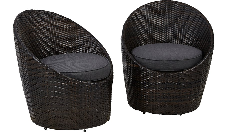 . Jakarta Pair Of Egg Chairs   Charcoal   Home   Garden   George at ASDA