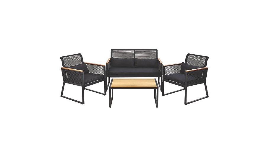 . Noir 4 Piece Sofa Set   Home   Garden   George at ASDA