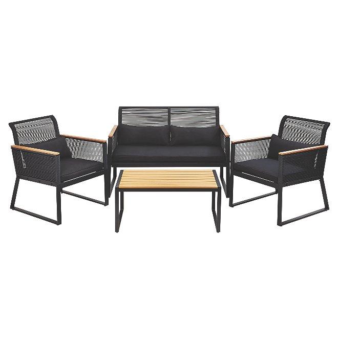 Outstanding Noir 4 Piece Garden Sofa Set Inzonedesignstudio Interior Chair Design Inzonedesignstudiocom
