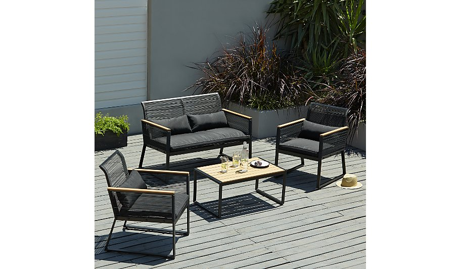 Double clicktap to zoom or select Image to load. Noir 4 Piece Sofa Set   Home   Garden   George at ASDA