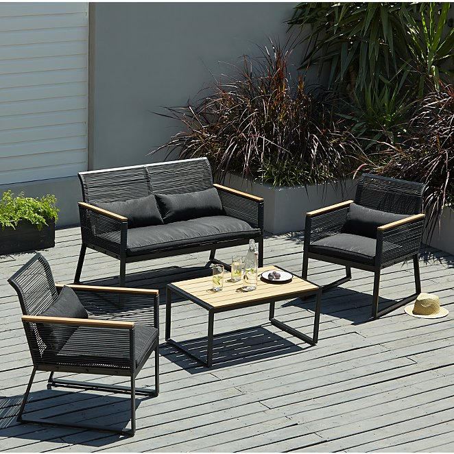 Noir 4 Piece Garden Sofa Set Outdoor Garden George
