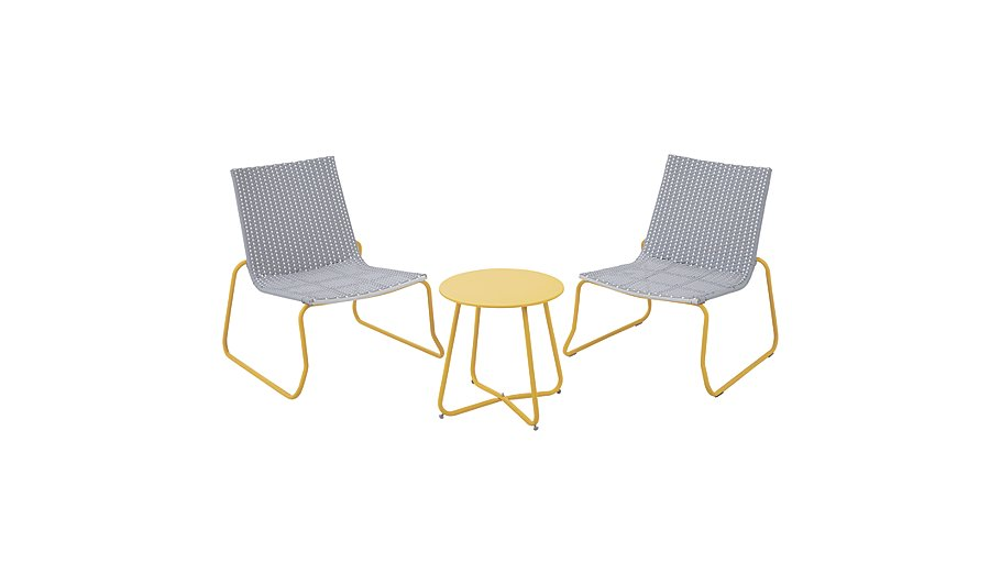 Ventura 3 Piece Bistro   Grey and Yellow   Home   Garden   George at ASDA. Ventura 3 Piece Bistro   Grey and Yellow   Home   Garden   George