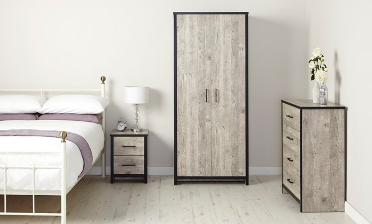 Declan Bedroom Furniture Range - Distressed Pine
