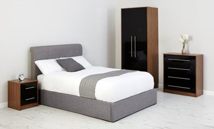 Jaydan Bedroom Furniture Range - Walnut Effect and Black