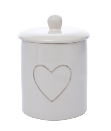 George Home Cream Ceramic Heart Canister Range Kitchen Food